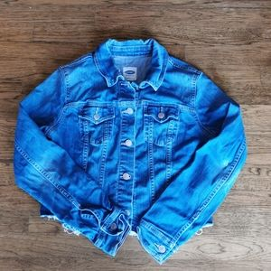 Old Navy Stretch Upcycled Painted Denim Jacket M